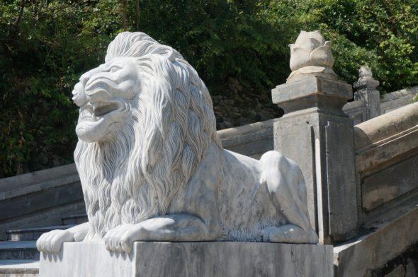 Statue de lion en bas de l'escalier