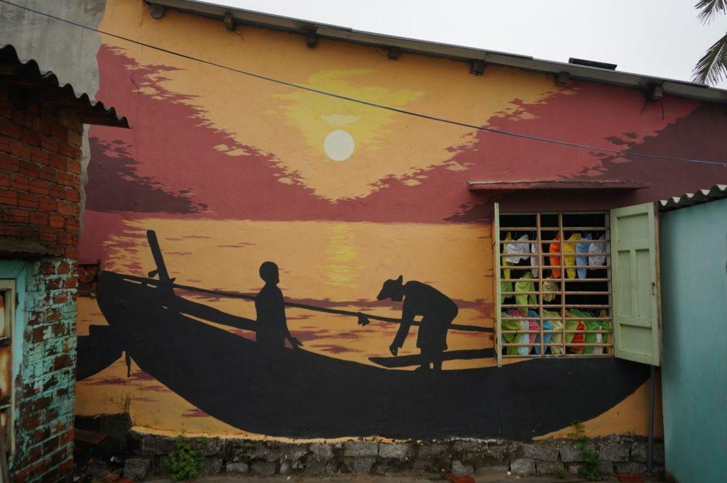 Fresque fluviale et linge qui sèche à Tam Thanh