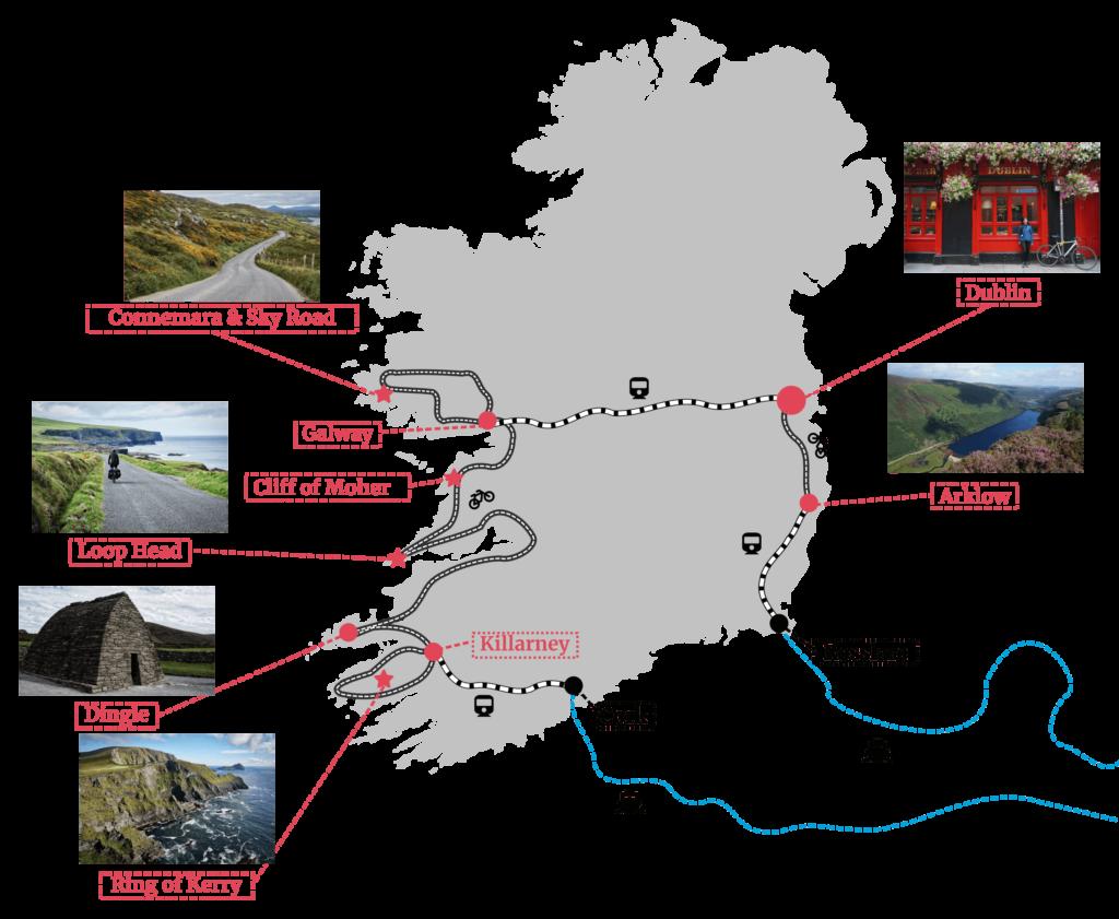 Aperçu de notre itinéraire à vélo en Irlande
