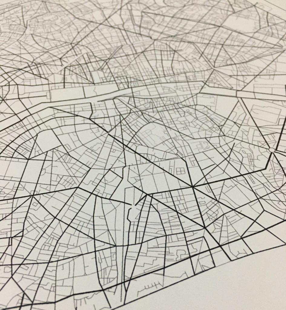 Détail de la carte design de Paris
