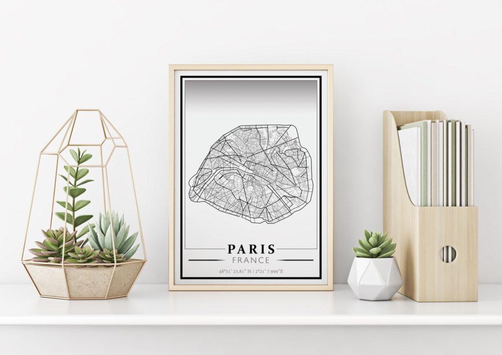 carte imprimée de Paris