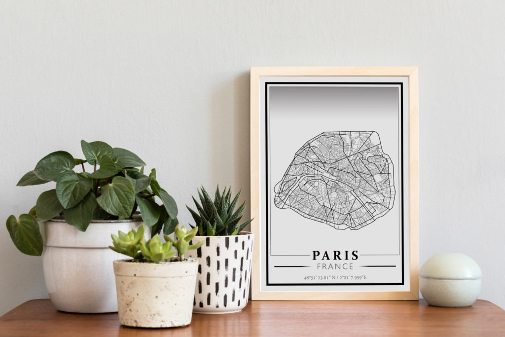 carte imprimée de Paris
