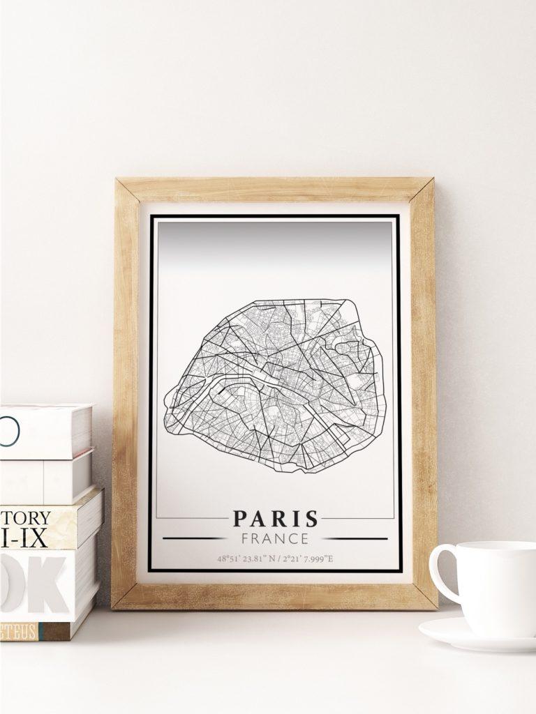 Affiche cartographique de Paris