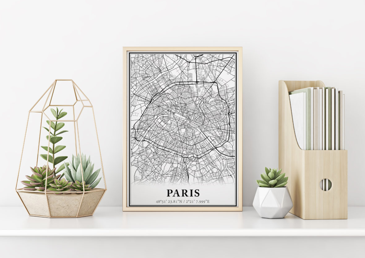 Carte minimaliste Paris